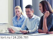 Купить «business people with papers meeting in office», фото № 24206781, снято 25 октября 2014 г. (c) Syda Productions / Фотобанк Лори