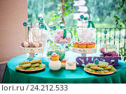 Купить «Канди бар на свадьбе», фото № 24212533, снято 27 июня 2015 г. (c) Блинова Ольга / Фотобанк Лори