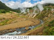 Купить «Река Гейзерная в долине Гейзеров», фото № 24222661, снято 12 августа 2016 г. (c) Юлия Машкова / Фотобанк Лори