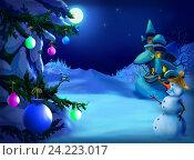 Рождественская открытка. Стоковая иллюстрация, иллюстратор Sergii Zarev / Фотобанк Лори