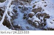 Купить «Река в снежном лесу, Черногория», видеоролик № 24223033, снято 21 января 2016 г. (c) Иван Кузнецов / Фотобанк Лори