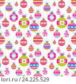 Купить «Праздничный бесшовный фон с елочными украшениями», иллюстрация № 24225529 (c) Миронова Анастасия / Фотобанк Лори