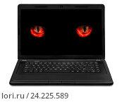 Купить «Глаза монстра на экране ноутбука», фото № 24225589, снято 3 мая 2012 г. (c) Юрий Плющев / Фотобанк Лори