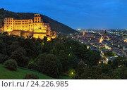 Вечерний вид на Гейдельберг, Германия с гейдельбергским замком (2013 год). Стоковое фото, фотограф Михаил Марковский / Фотобанк Лори
