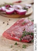 Купить «Кусок свежей говядины», фото № 24236381, снято 21 мая 2019 г. (c) Максим Стриганов / Фотобанк Лори
