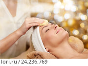 Купить «close up of woman having face cleaning in spa», фото № 24236769, снято 18 декабря 2014 г. (c) Syda Productions / Фотобанк Лори