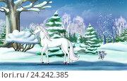 Купить «Рождественская фантазия с волшебным единорогом», видеоролик № 24242385, снято 19 ноября 2016 г. (c) Sergii Zarev / Фотобанк Лори
