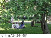 Купить «Москва, люди на летней лужайке летом. Парк Горького», эксклюзивное фото № 24244681, снято 29 мая 2016 г. (c) Дмитрий Неумоин / Фотобанк Лори