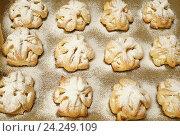 Купить «Свежеиспечённые слойки с кремом патисьер, посыпанные сахарной пудрой», эксклюзивное фото № 24249109, снято 8 ноября 2016 г. (c) Dmitry29 / Фотобанк Лори
