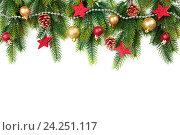 Купить «Елочные украшенные ветки», фото № 24251117, снято 16 ноября 2016 г. (c) Евдокимов Максим / Фотобанк Лори