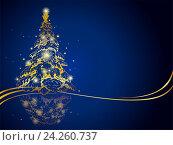 Современная золотая рождественская елка на синем фоне. Стоковая иллюстрация, иллюстратор Миронова Анастасия / Фотобанк Лори