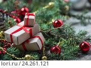 Купить «Christmas background with decorations», фото № 24261121, снято 1 ноября 2016 г. (c) Типляшина Евгения / Фотобанк Лори