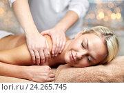 Купить «close up of woman lying and having massage in spa», фото № 24265745, снято 18 декабря 2014 г. (c) Syda Productions / Фотобанк Лори