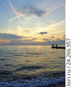Купить «Морская рыбалка с пирса на закате, красивые облака», фото № 24266957, снято 24 октября 2016 г. (c) DiS / Фотобанк Лори