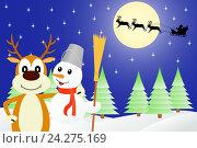 Купить «Олень и Снеговик», иллюстрация № 24275169 (c) Сергей Антипенков / Фотобанк Лори
