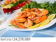 Купить «Delicious Mediterranean seafood shrimps and crawfish close up», фото № 24278089, снято 24 февраля 2020 г. (c) Яков Филимонов / Фотобанк Лори