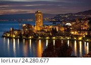 Купить «Night cityscape of Montreux Switzerland with land .», фото № 24280677, снято 8 декабря 2011 г. (c) Gennadiy Poznyakov / Фотобанк Лори