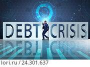 Купить «Businessman squeezed between crisis and debt», фото № 24301637, снято 21 ноября 2019 г. (c) Elnur / Фотобанк Лори