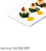 Морские гребешки со шпинатом и помидорами. Стоковое фото, фотограф Воронина Светлана / Фотобанк Лори