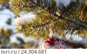 Стеклянная игрушка на елке. Стоковое видео, видеограф Сергей Кальсин / Фотобанк Лори