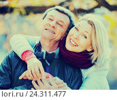 Купить «Portrait of positive elderly couple», фото № 24311477, снято 22 ноября 2018 г. (c) Яков Филимонов / Фотобанк Лори