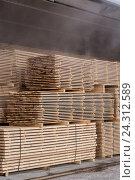Купить «Штабель обрезных досок», фото № 24312589, снято 12 декабря 2015 г. (c) Рустам Шигапов / Фотобанк Лори