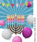 Купить «Abstract Background Happy Hanukkah, Jewish Holiday.», иллюстрация № 24313553 (c) Юлия Гапеенко / Фотобанк Лори