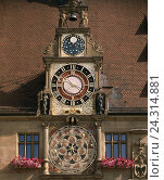 Купить «Germany, Baden-Wurttemberg, Heilbronn on the Neckar, city hall, detail, astronomical clock, sundial, Europe, Neckar Valley, town, part town, city centre...», фото № 24314881, снято 11 сентября 2007 г. (c) mauritius images / Фотобанк Лори