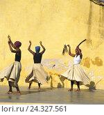 Купить «Cuba, Trinidad, folklore group, dancers MODEL NO RELEASE, the Caribbean, person, women, three, performance, culture, tradition, folklore, show, dance, dance, wall, defensive wall, yellow», фото № 24327561, снято 23 мая 2005 г. (c) mauritius images / Фотобанк Лори
