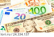 Money background from american dollars and euro banknotes, фото № 24334137, снято 5 декабря 2016 г. (c) FotograFF / Фотобанк Лори