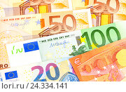 Background from different euro banknotes close up, фото № 24334141, снято 6 декабря 2016 г. (c) FotograFF / Фотобанк Лори