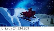 Купить «Composite image of christmas sledge with gift boxes», фото № 24334869, снято 19 октября 2018 г. (c) Wavebreak Media / Фотобанк Лори