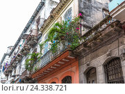 Купить «Typical balconies in the Old Town Havana, centre, La Habana, Cuba, the republic Cuba, the Greater Antilles, the Caribbean», фото № 24338721, снято 5 декабря 2015 г. (c) mauritius images / Фотобанк Лори