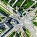 Вид сверху на городские дома и перекрестки дорог, фото № 24349653, снято 6 декабря 2016 г. (c) Александр Маркин / Фотобанк Лори