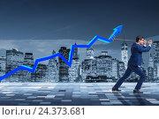 Купить «Businessman supporting increase in economy», фото № 24373681, снято 16 июня 2019 г. (c) Elnur / Фотобанк Лори
