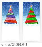 Праздничные фоны с декоративными новогодними ёлками. Стоковая иллюстрация, иллюстратор elena_a / Фотобанк Лори