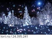Купить «Зимний лес ночью. Звезды и Луна», фото № 24395241, снято 3 января 2016 г. (c) Евгений Ткачёв / Фотобанк Лори