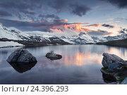 Купить «Switzerland, Zermatt, Matterhorn, Stellisee (lake), Pennine Alps,», фото № 24396293, снято 14 декабря 2018 г. (c) mauritius images / Фотобанк Лори