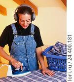 Купить «Household, woman, iron, earphones, music hear, laundry, iron, ironing board, housewife, housework, happy, smile, inside», фото № 24400181, снято 1 апреля 2003 г. (c) mauritius images / Фотобанк Лори