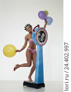 Купить «Woman, young, bikini, curler, balloons, weigh out inside, studio, cut out, cosmetics, scales, weight, slender, diet, bathroom scales», фото № 24402997, снято 15 августа 2018 г. (c) mauritius images / Фотобанк Лори