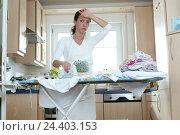 Купить «Cuisine, housewife, iron, exhausts inside, at home, household, housework, ironing board, woman, young, depletion, overloading, reworks, iron, ironing,...», фото № 24403153, снято 27 января 2003 г. (c) mauritius images / Фотобанк Лори