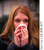 Купить «Woman, catches cold, gesture, nose, clean, portrait, outside, young, ill, disease, cold, with of a cold, coryza, handkerchief, paper tissue, to walrus moustaches, schneuzen, nasal cleaning», фото № 24408477, снято 20 июля 2018 г. (c) mauritius images / Фотобанк Лори