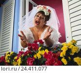 Купить «Windows, floral decoration, bride, gesture, wait, desperation Heavy Weights, studio, woman, wedding dress, veil, white, wedding, marry, look, view, search...», фото № 24411077, снято 26 сентября 2000 г. (c) mauritius images / Фотобанк Лори