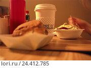 Купить «The USA, quick restaurant, breakfast, coffee, muesli, Bagel, America, snack bar, snack, food, eat, to breakfasts, drink, cake, ground food, bread rolls...», фото № 24412785, снято 25 марта 2004 г. (c) mauritius images / Фотобанк Лори