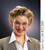 Купить «Businesswoman, young, blond, glasses, happy, portrait, women, studio, cut out, grin, glad, happy, joy, malicious pleasure, view, camera,», фото № 24413569, снято 29 сентября 2000 г. (c) mauritius images / Фотобанк Лори