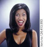 Купить «Woman, dark-skinned, young, facial play, enthusiasm, portrait, women, studio, non-whites, Mulattin, please, surprises, surprise, laugh, mouth, openly,...», фото № 24413993, снято 14 февраля 2006 г. (c) mauritius images / Фотобанк Лори