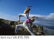 Купить «Couple, yoga practise, outside, woman, man, young, practise, yoga, meditation, body control, relaxing, recreation,», фото № 24415705, снято 7 августа 2001 г. (c) mauritius images / Фотобанк Лори