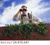 Купить «More poorly, man, conductor, view, binoculars Men, brick wall, wall, clay brick, ivy, curiosity, curiosity, tension adjuster, see, look, look, search,...», фото № 24416641, снято 25 сентября 2000 г. (c) mauritius images / Фотобанк Лори