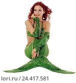 Купить «Mermaid, sit, gesture, dreams away, thoughtful concepts, woman, young, hairs, red, lining, costume, tail fin, green, water, mermaid, water mind, fairy...», фото № 24417581, снято 15 февраля 2006 г. (c) mauritius images / Фотобанк Лори