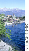 Купить «Italy, Lake Como, San Vito, local view, Northern Italy, Lombardy, mountains, Lago Tu Como, Lario, prealpine lake, lake, houses, church, boots, place», фото № 24419697, снято 11 июля 2002 г. (c) mauritius images / Фотобанк Лори